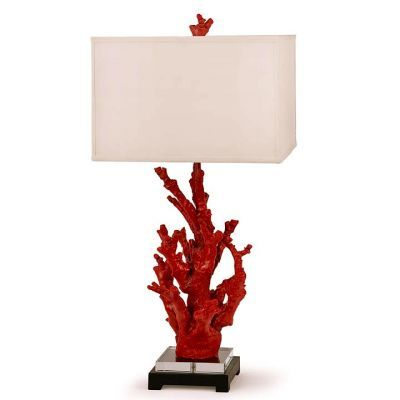 Coral Lamp: With The Grey Hued Walls, White Bed And White Side Tables,