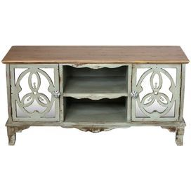 "Distressed sideboard with two mirrored doors.Product: SideboardConstruction Material: Wood and mirrored glassColor: Mint and naturalFeatures: Two doorsTwo shelves Dimensions: 24"" H x 47.5"" W x 16.5"" D Cleaning and Care: Dry wipe clean"
