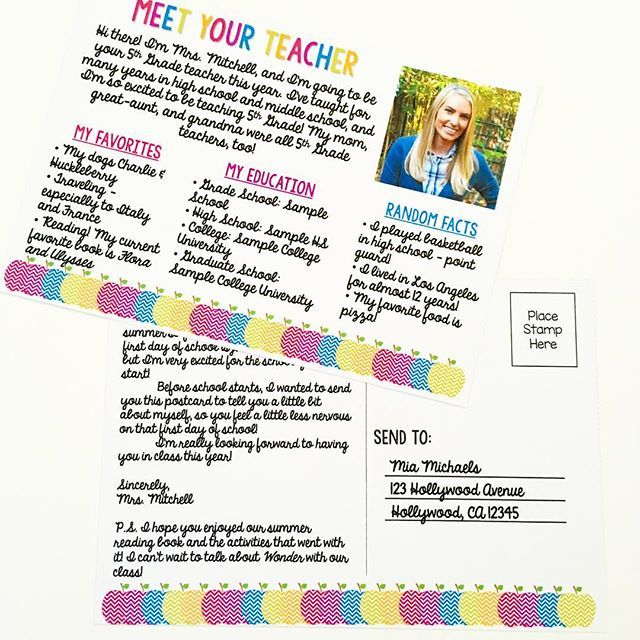 These Meet The Teacher Postcards Are The Perfect Idea To