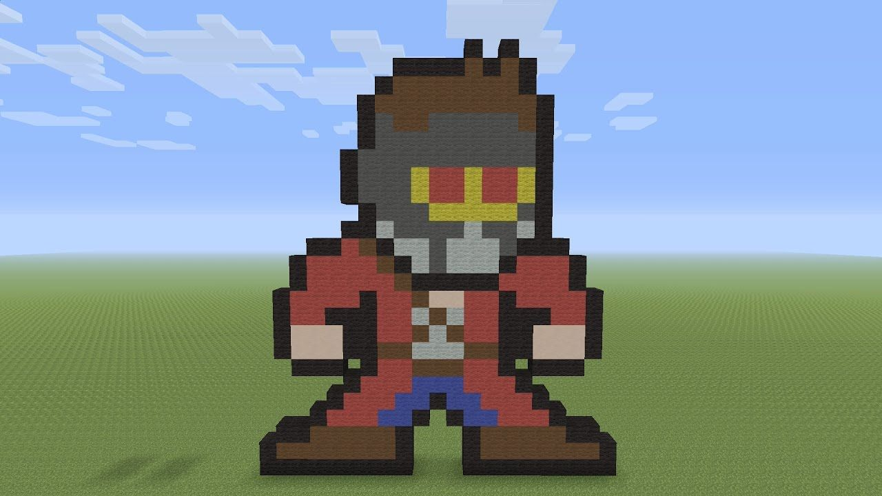 Minecraft Pixel Art Star Lord Peter Quill 8bit From Guardians Of