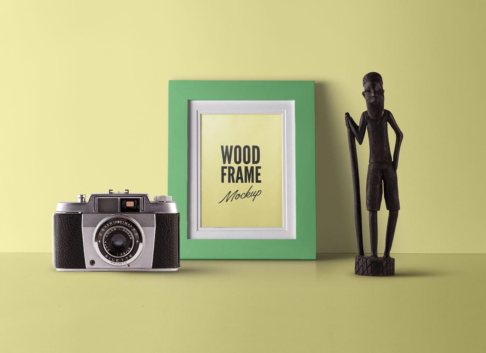 Free Fully Customizable Wood Photo Frame Mockup Psd Frame Mockups Wood Photo Frame Photo On Wood