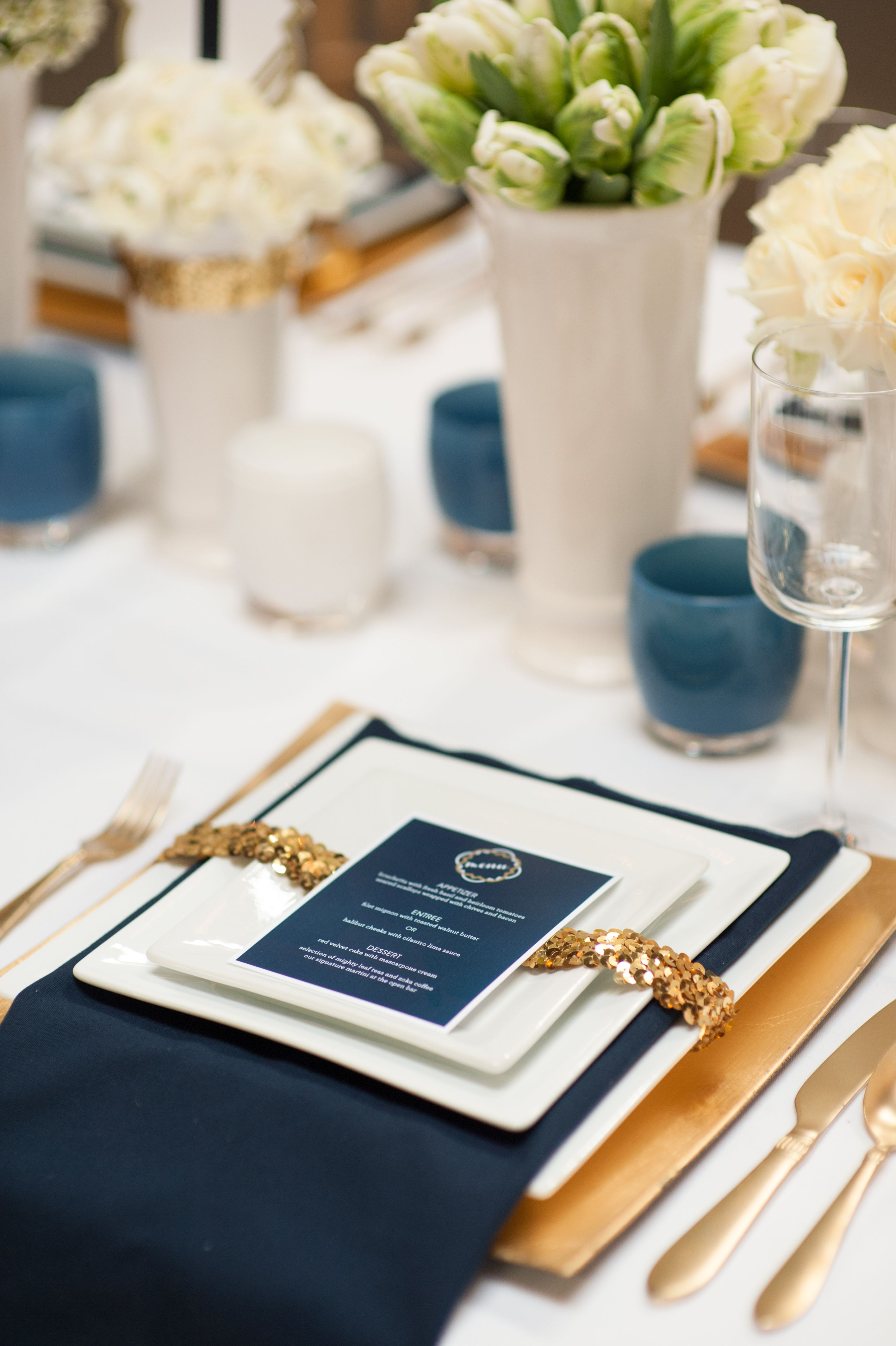 navy and gold themed wedding table decor.paint the inside of candle holders for table (see crafts pin board)
