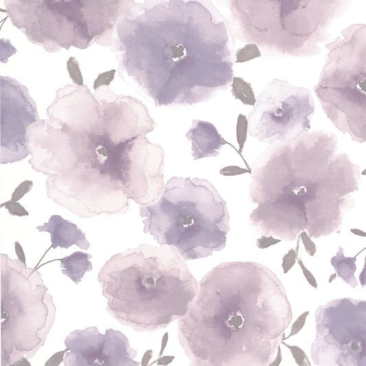 Poppies Lavender Wallpaper Large Poppy Wallpaper Light Purple Wallpaper Grey And Cream Wallpaper