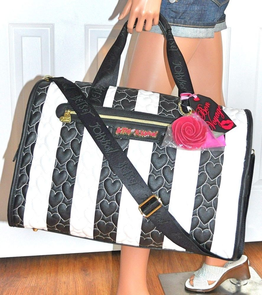 Womens Quilted Satchel Handbag Purse Travel Carryon Duffle Duffel Bag Black