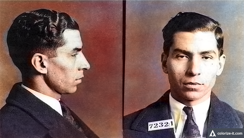 Lucky Luciano Mobster Mug Shots Real Gangster