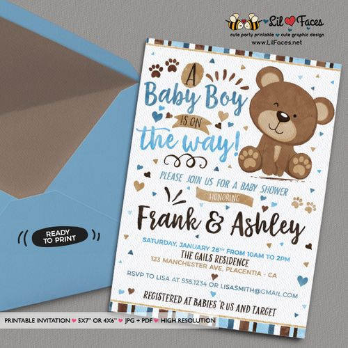 Blue And Brown Little Bear Baby Shower Invitation Blue And