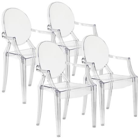 Set Of 4 Zuo Anime Transparent Dining Chairs M7337 Lamps Plus Clear Dining Chairs Dining Chairs Contemporary Dining Chairs