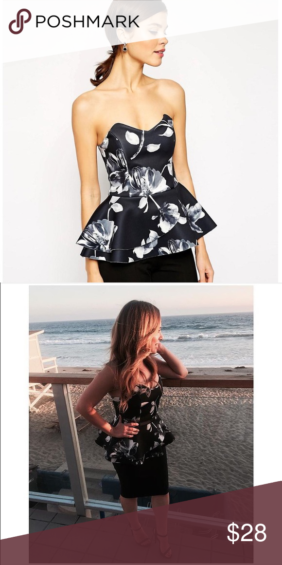 ASOS floral top Black and white bandeau peplum top in monochrome floral print. Worn once and in good condition. Sorry no trades and no pp ASOS Tops
