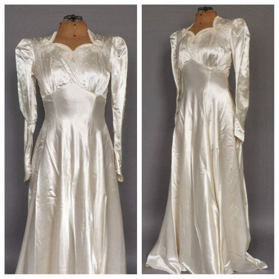 Vintage 1940's Ivory Satin Wedding Gown 30s Fitted Long