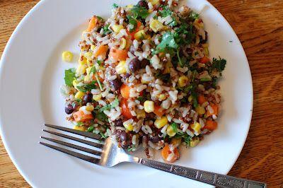 a bird and a bean: colorful quinoa, rice, veggie bowl