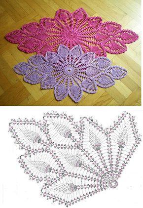 Diamond Oval Pineapple Doily Free Pattern Diagram | Häkeldeckchen ...