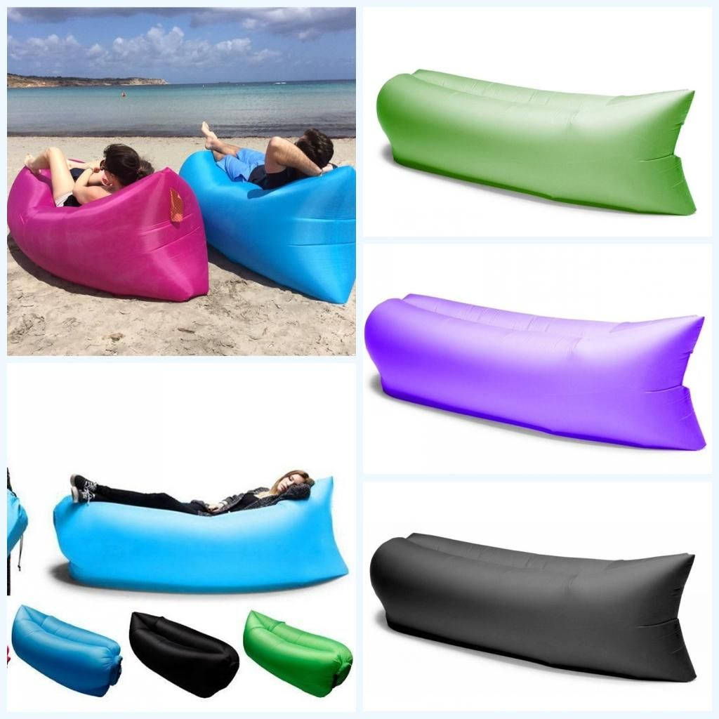inflatable lounge furniture. Inflatable Sofa Nylon Fabric Lounger Chair Air Compression Outdoor Camping Beach Sleeping Bag Pads Portable Lazy Bed Hangout Couch Lounge Furniture E