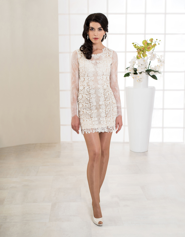 Aufregendes, kurzes Brautkleid aus Spitze und langen Ärmeln aus ...