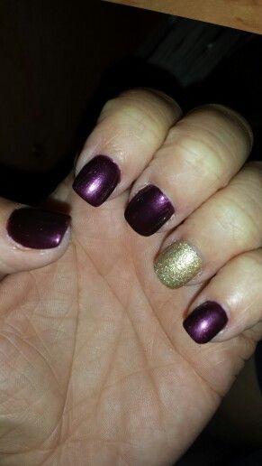 Fall nails. Plum & gold