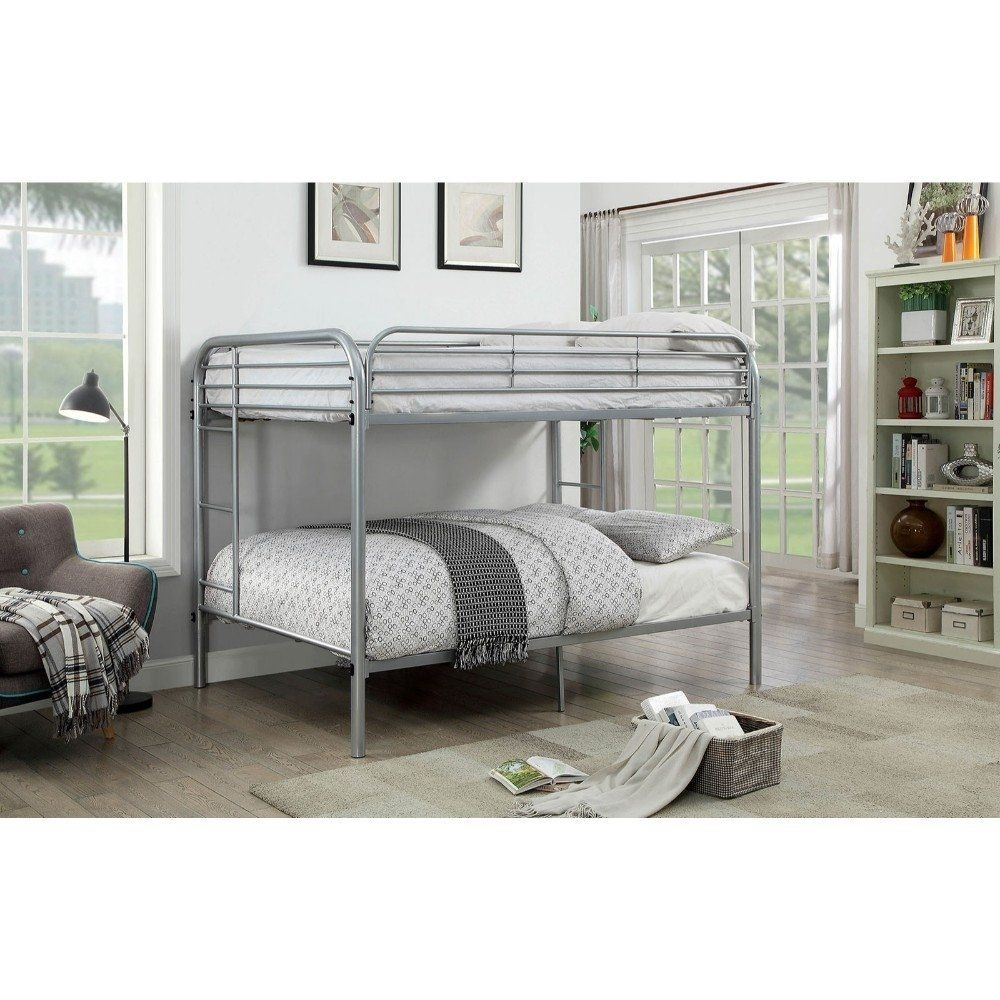 Best Metal Full Over Full Bunk Bed With Attached Side Rails And 400 x 300
