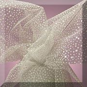 Snow Flaked Organza Fabric - White