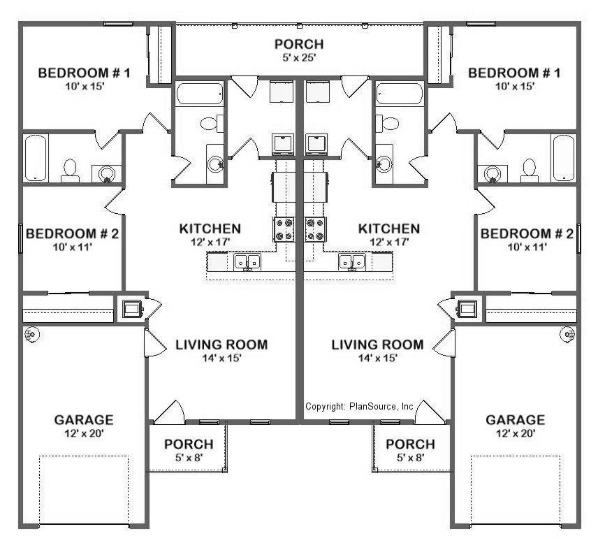 Duplex House Plan J0324d 2 Bedroom 2 Bath With Single Garage Duplex Floor Plans Duplex House Plans Duplex House