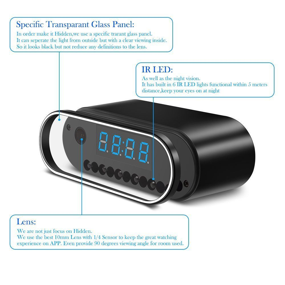 Spy Camera MCSTREE Hidden Camera in Clock WiFi hidden Cameras P