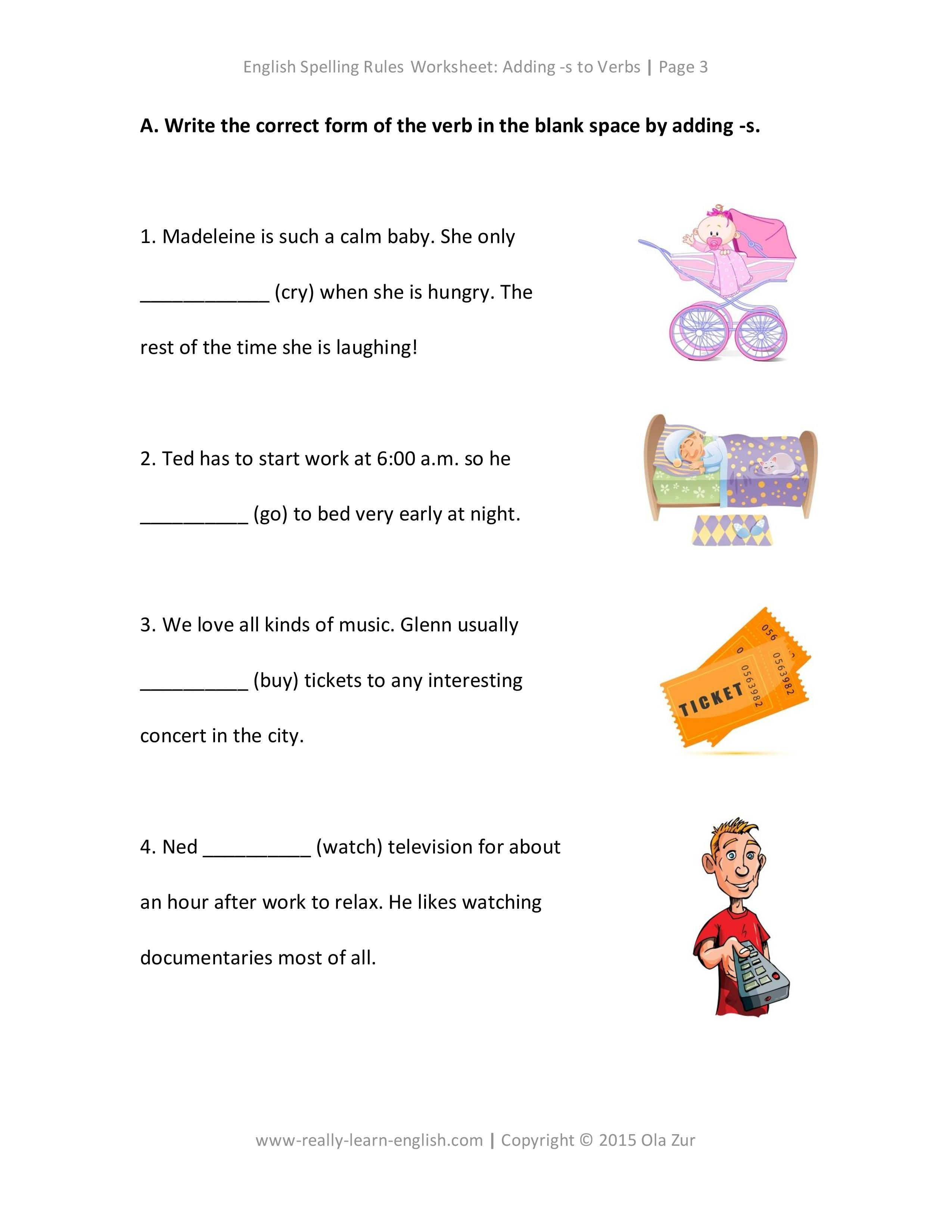 worksheet Spelling Rules Worksheets spelling rules how to add s a verb english free worksheets adding verbs