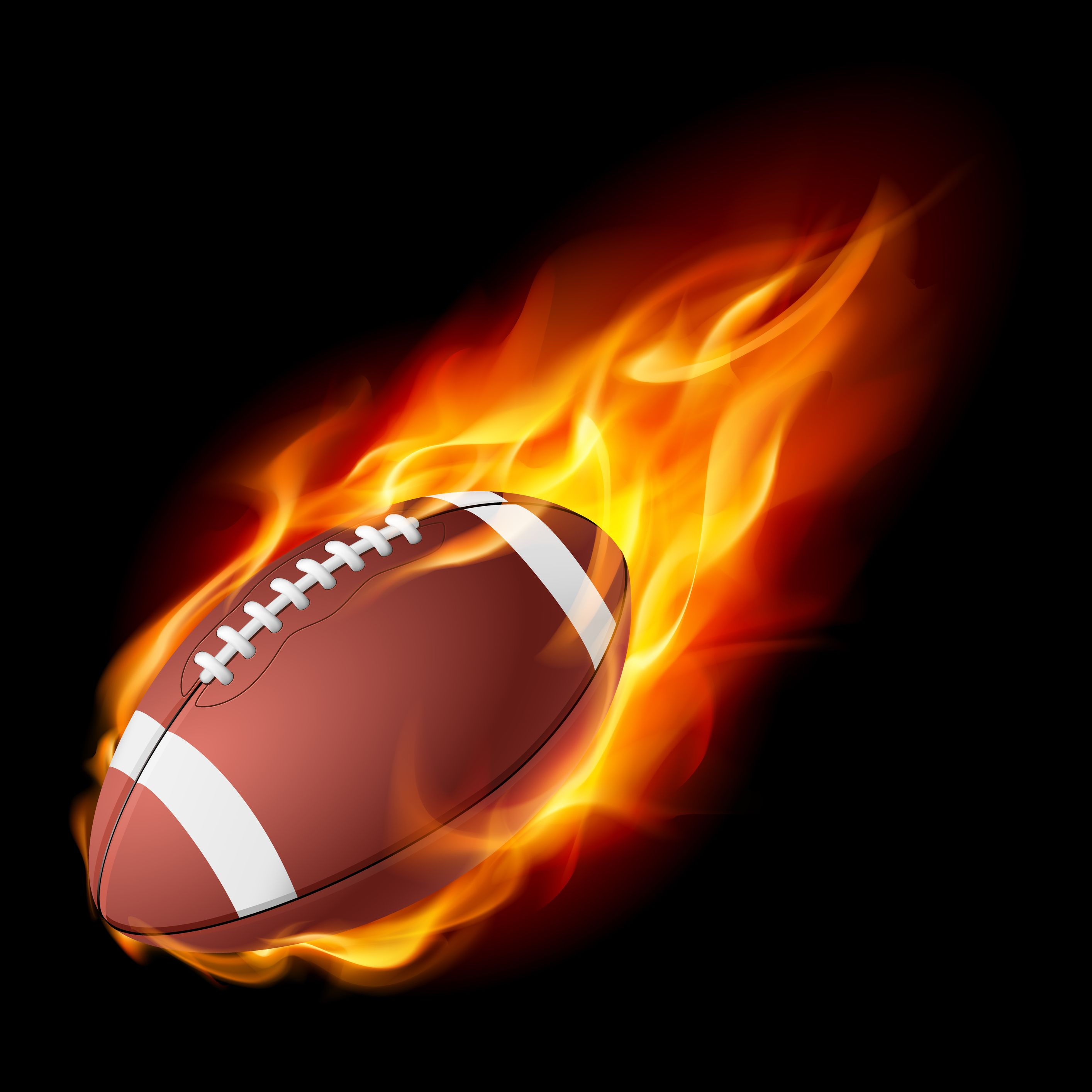 Realistic American Football In The Fire. Illustration On