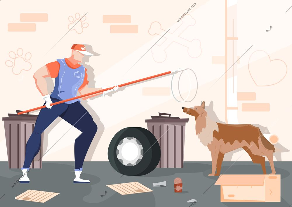 Catching Homeless Animals Flat Composition With Backstreet Scenery Brick Wall Rubbish And Human With Wild Dog Vector Illustra Dog Vector Animal Flats Wild Dogs