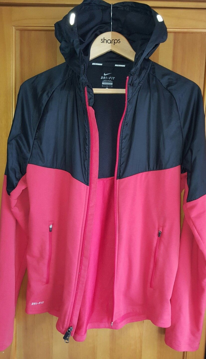 Nike NR DRY FIT Mens Running Hoody Black and Red Jacket Size