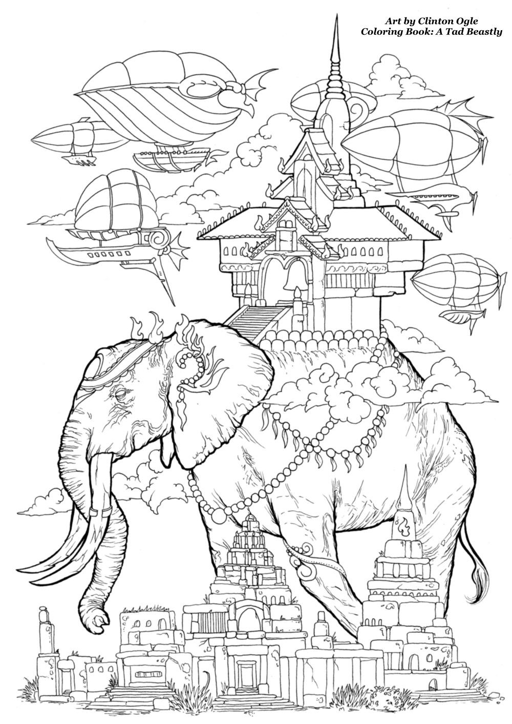 """Free Coloring Page from the soon to be released Adult Coloring Book: """"A Tad Beastly"""" by Clinton Ogle"""
