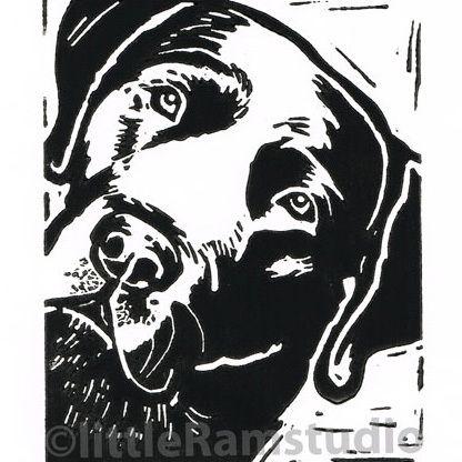 Black Labrador Dog - Original Hand Pulled Linocut Print