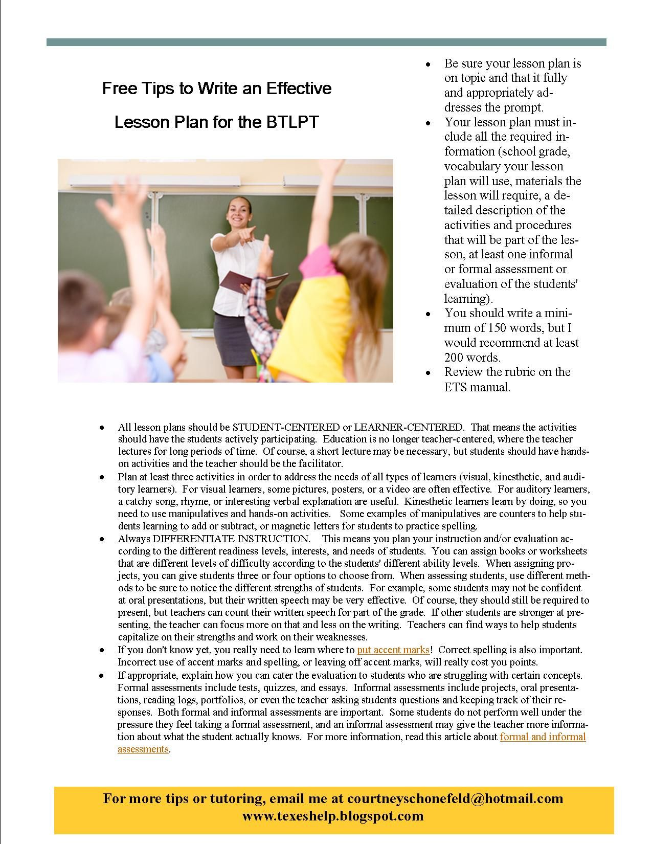 Free Tips To Write An Effective Lesson Plan For The Btlpt Spanish
