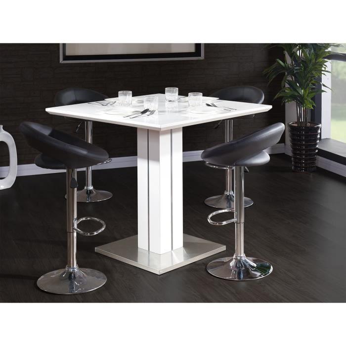 sandro table bar carr e 4 personnes 100x100 cm laqu blanc brillant achat vente mange. Black Bedroom Furniture Sets. Home Design Ideas