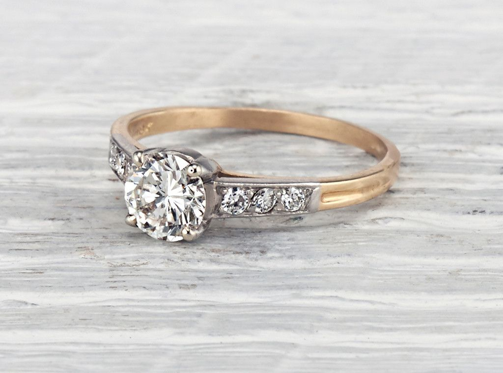 24d52e5b7 Vintage Retro engagement ring by Tiffany Co. made in palladium and 18K gold  centered with a GIA certified .65 carat J color VS1 clarity transitional  cut ...