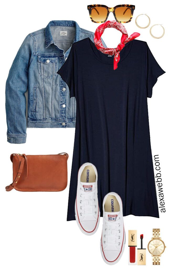 Photo of Plus Size Navy T-Shirt Dress Outfit Ideas – Alexa Webb