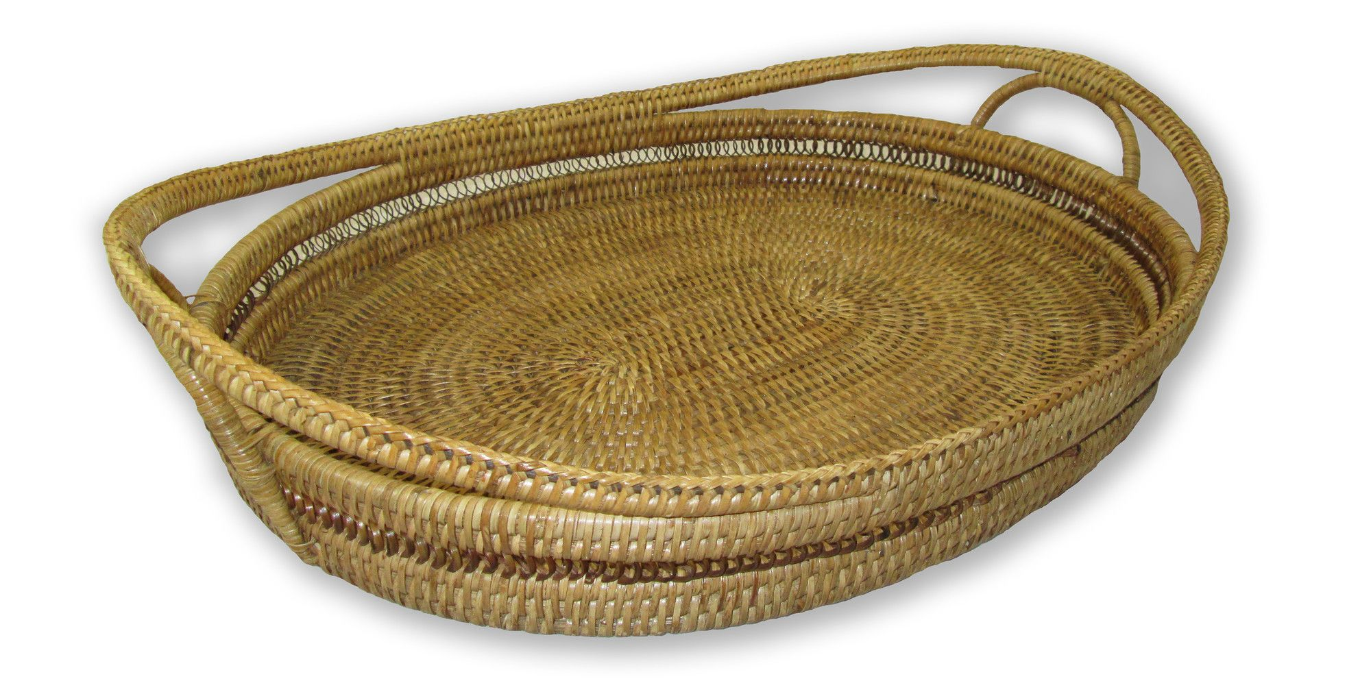 Rattan Oval Tray with High Handles