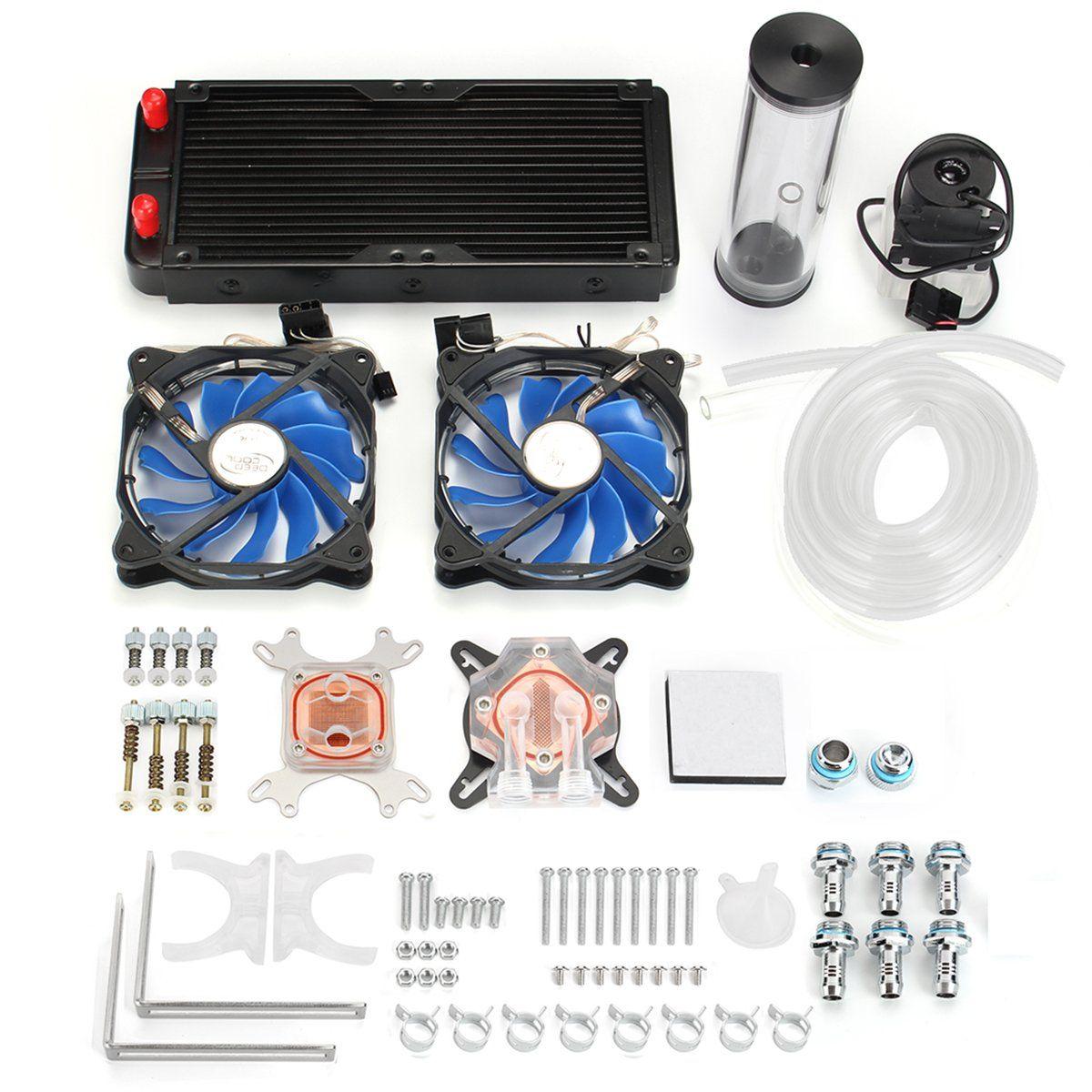 Pc Water Cooling Kit 240mm Radiator Pump Reservoir Cpu Block Rigid Tubes Diy Water Cooling Pumps Radiators