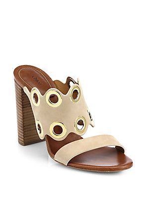 f3c2dc4b Chloe ~ Grommet Suede Wooden-Heeled Sandal, Beige 2015   Shoes ...