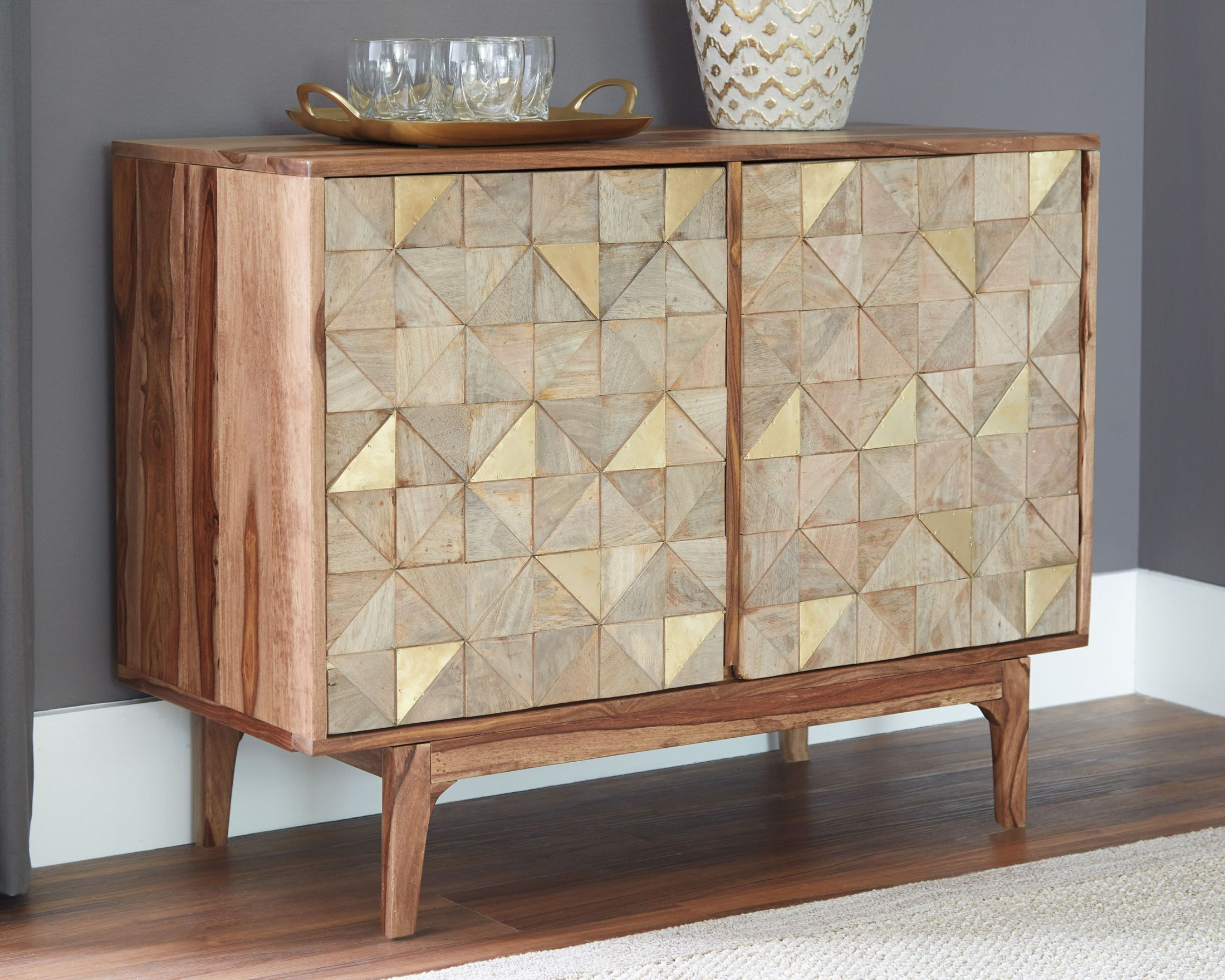Carolmore Brown and Gold Accent Cabinet