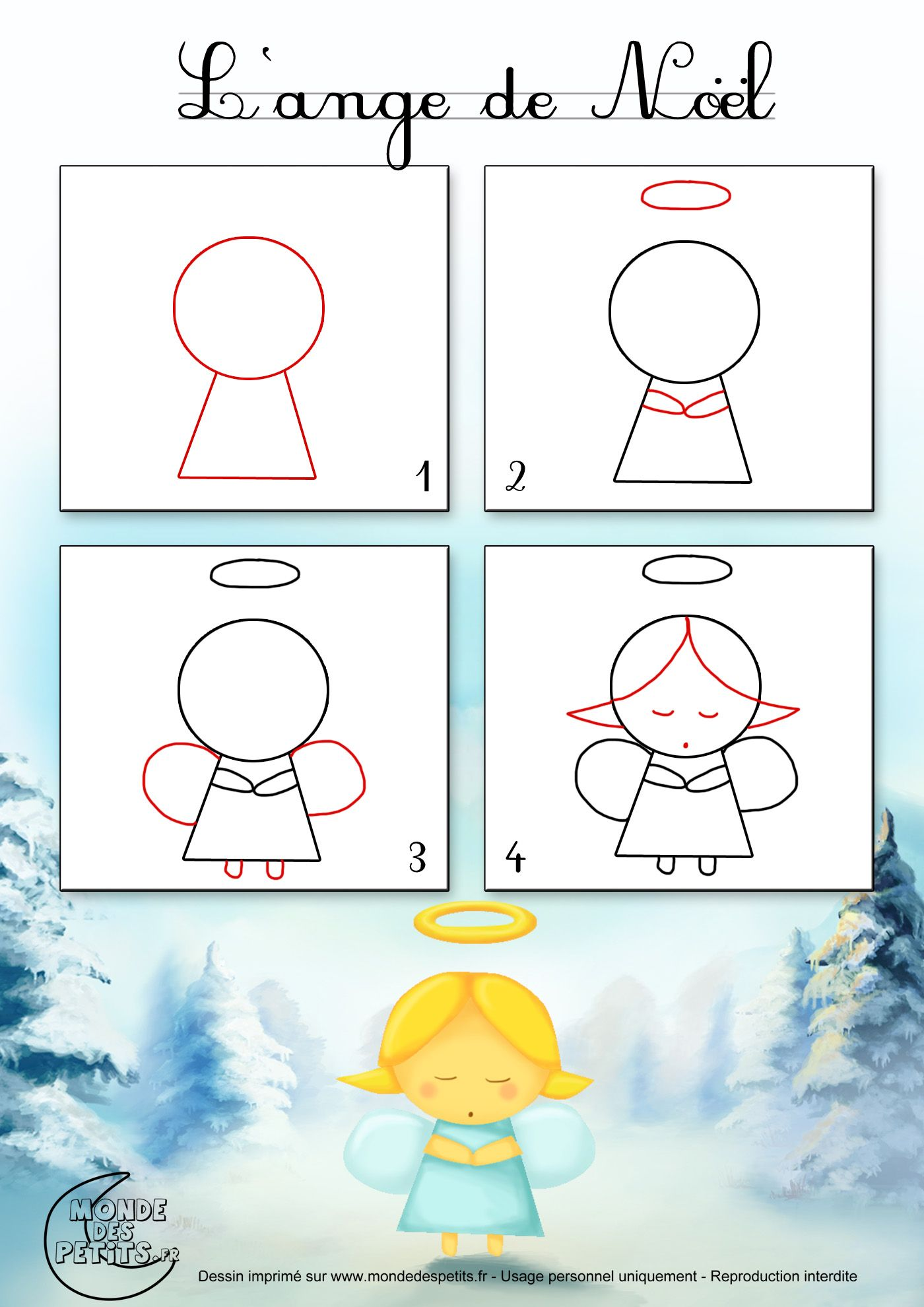 Dessin2 comment dessiner un ange de no l xmas for Apprendre les tables facilement
