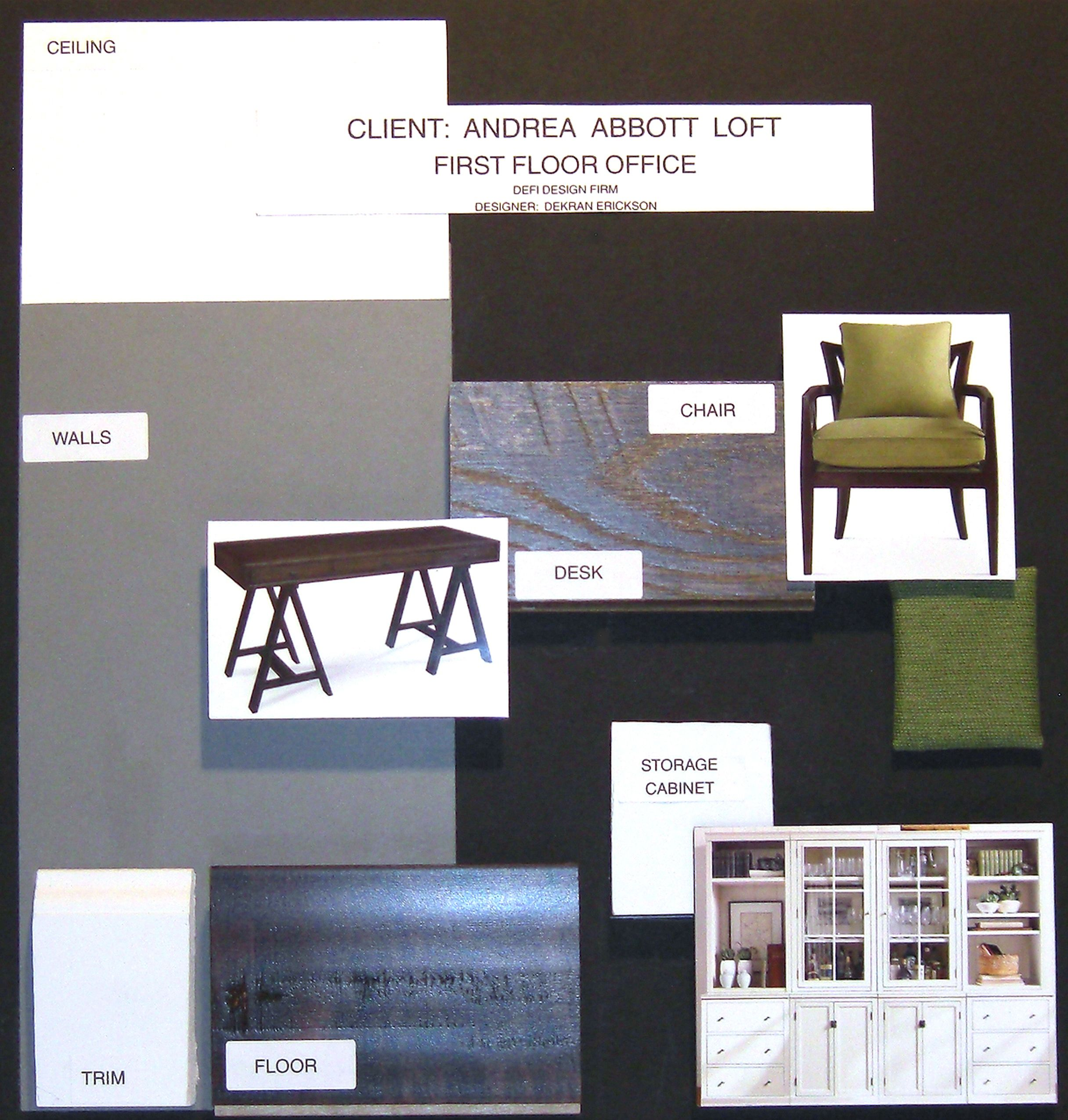 Home Office Layout Examples: Material Sample Board For A Home Office