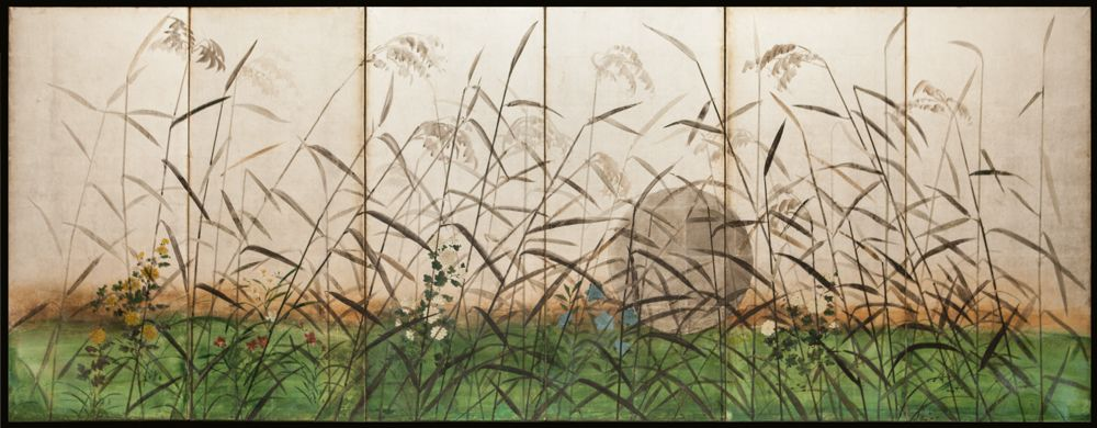 Japanese Screen: Moon and Wild Grasses on Silver | 1880