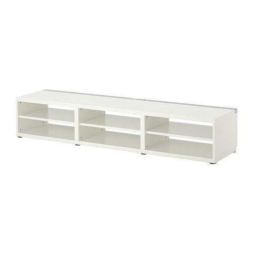 BESTÅ Tv-bänk IKEA Luftcirkulationen runt elektroniken förbättras tack vare att tv-bänken har ventiler på ovansidan.
