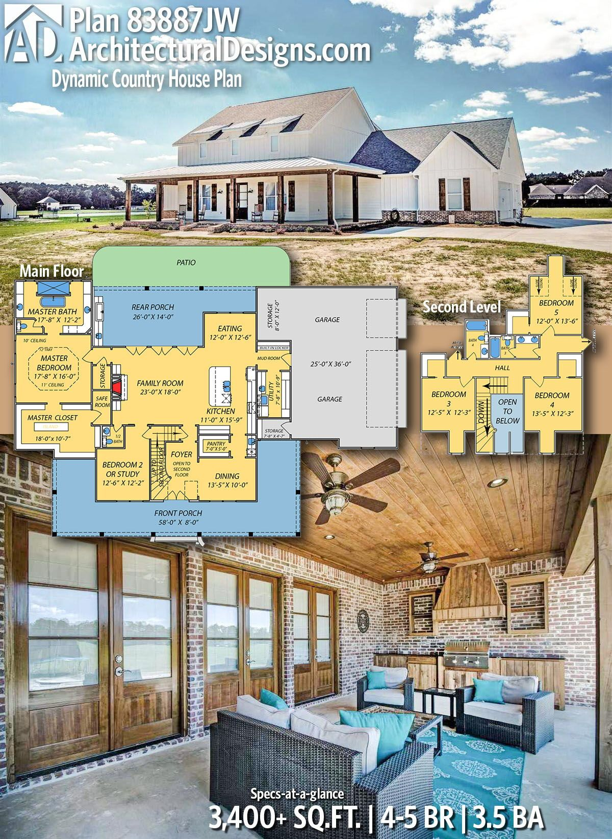 Plan 83887jw Dynamic Country House Plan With Safe Room Country House Plan House Plans Safe Room