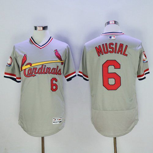 Men's St. Louis Cardinals #6 Stan Musial Retired Gray Pullover 2016 Flexbase Majestic Baseball Jersey