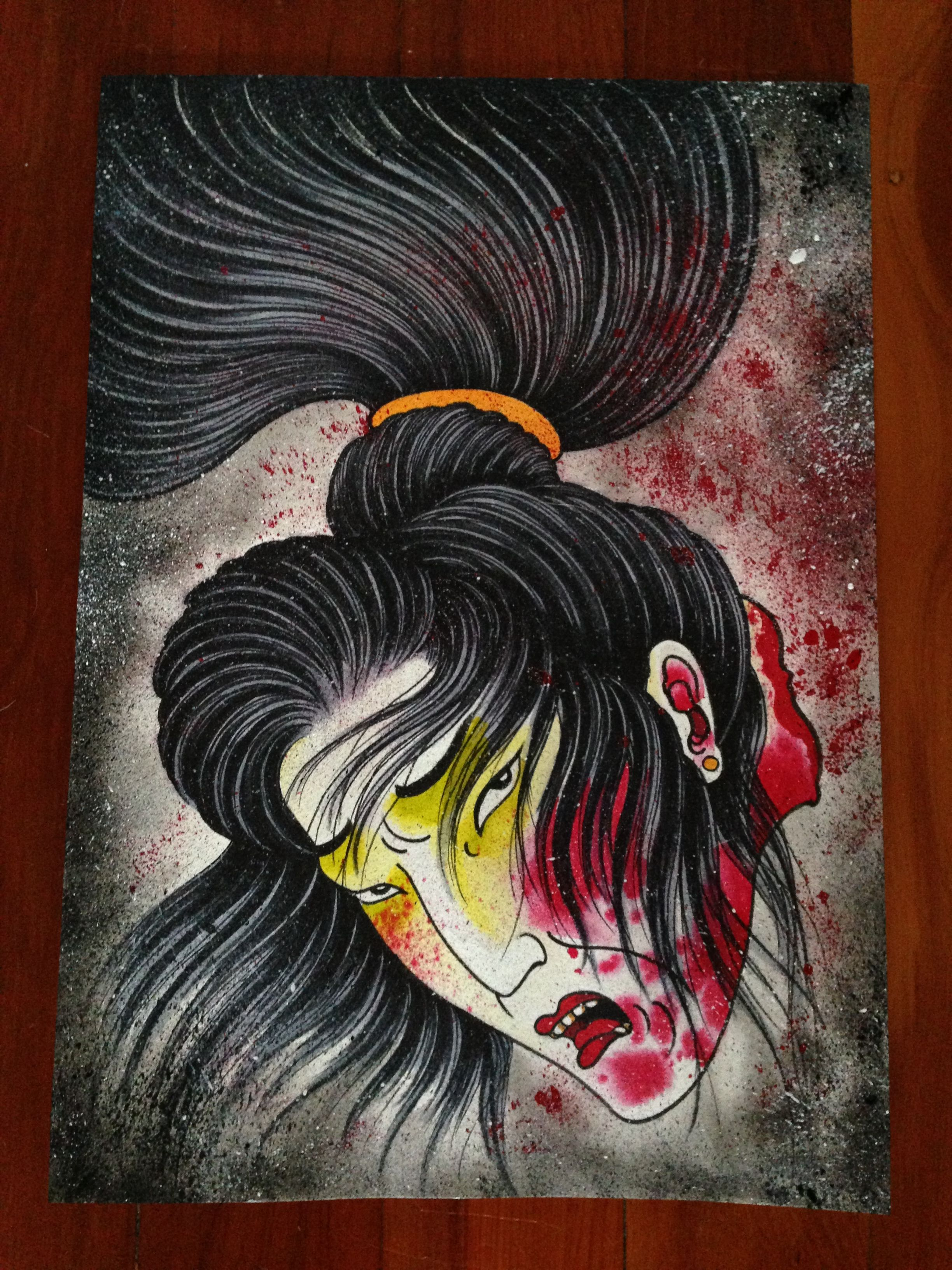 japanese namakubi severed head design by adam craft illustrations pinterest tattoo and. Black Bedroom Furniture Sets. Home Design Ideas