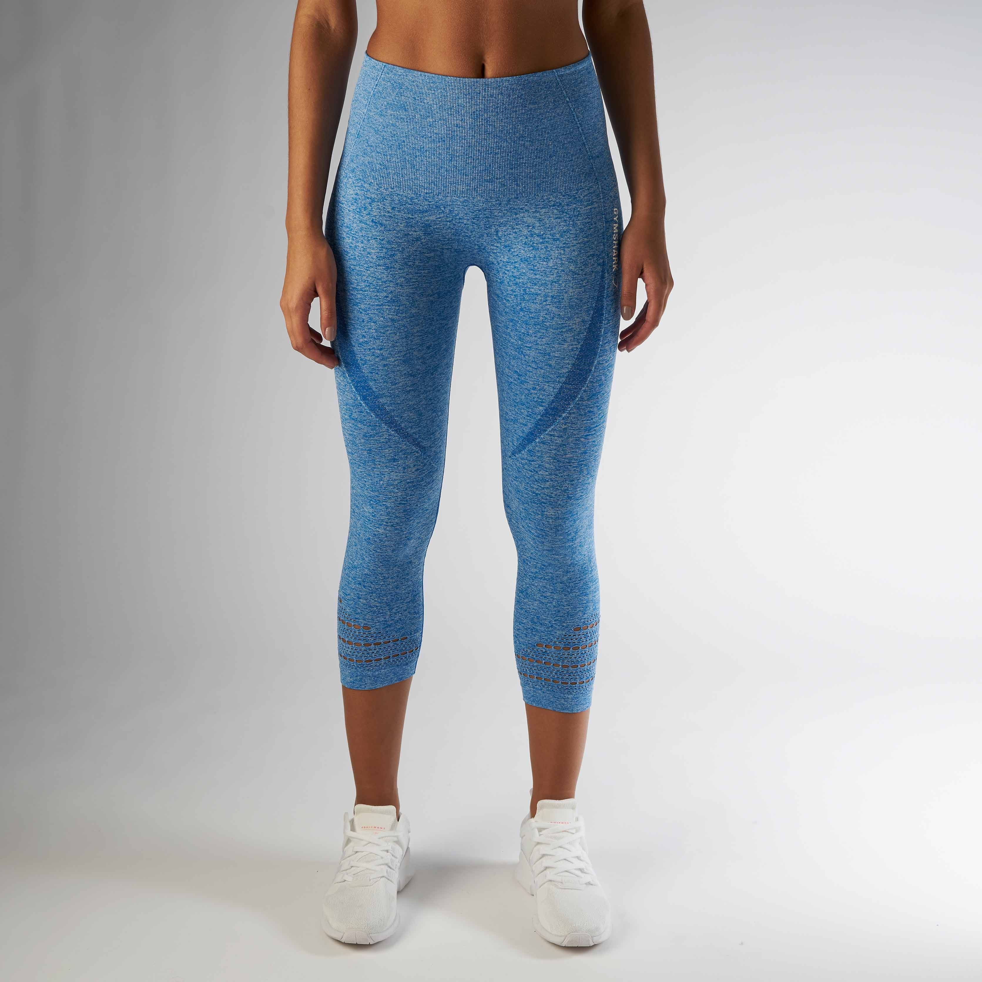 43fa8e6f4ef70 Gymshark High Waisted Seamless Cropped Legging - Blueberry Marl ...