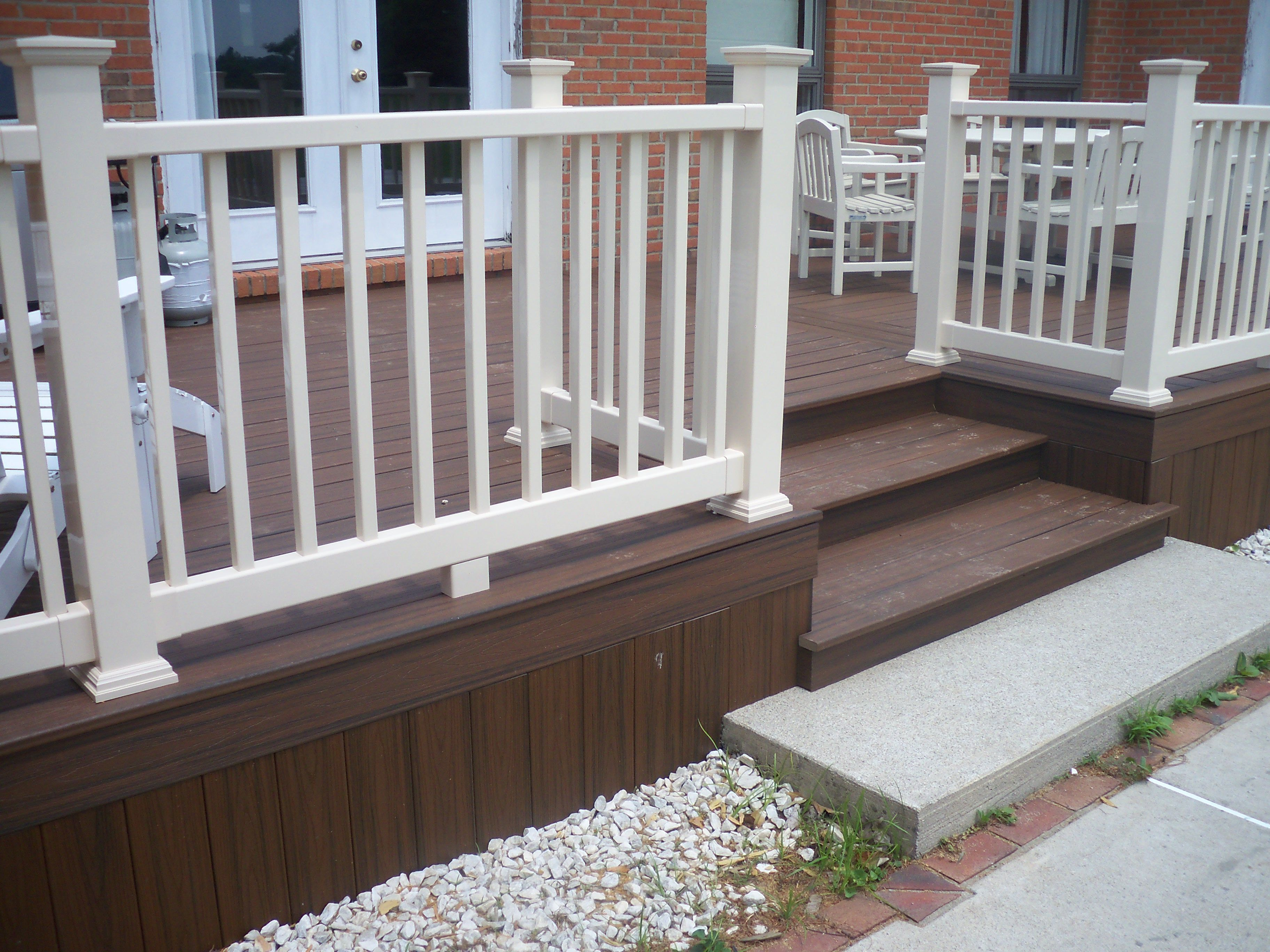 trex deck with almond vinyl railing deck pinterest vinyl railing and decking. Black Bedroom Furniture Sets. Home Design Ideas