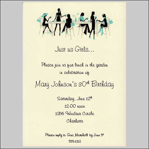 Ladies Only By Bonnie Marcus Ladies Luncheon Bridal Shower Garden Party Custom Printed Invitations Invitation Wording Lunch Invitation Invitations
