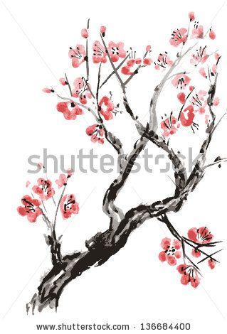 Realistic Sakura Blossom Japanese Cherry Tree Isolated On White Background Vectoriz Cherry Blossom Watercolor Cherry Blossom Painting Cherry Blossom Drawing