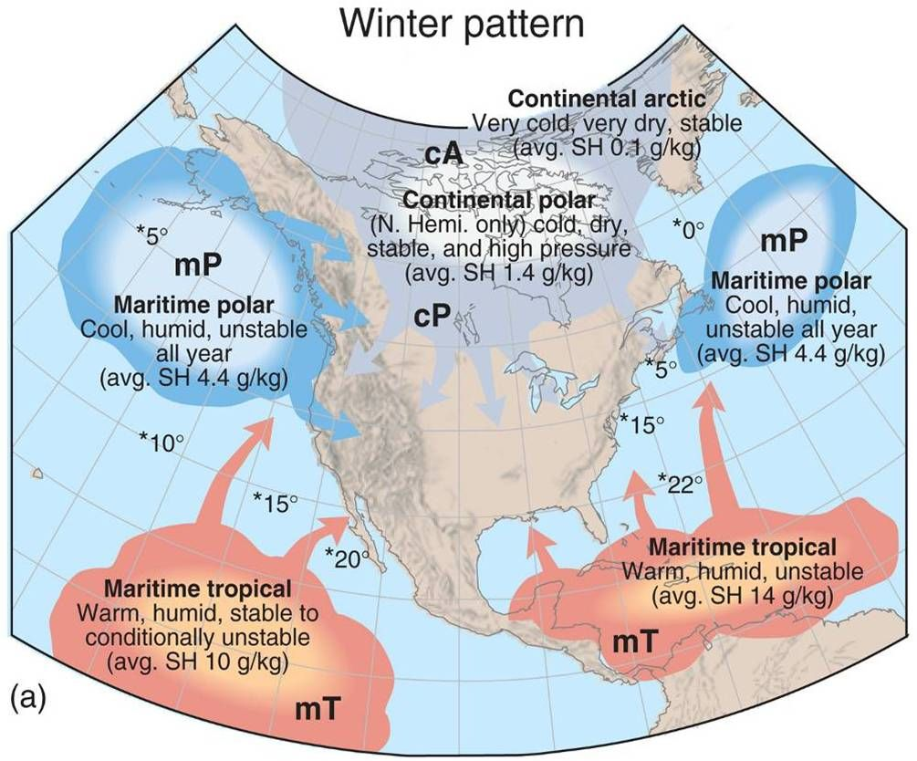 Air Masses And Fronts Weather Map Climates Canada