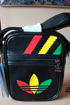 eaf409b611a9 NEW RETRO ADIDAS SUPERSTAR BLACK RASTA VINTAGE MINI AIRLINE BAG LIMITED  EDITION