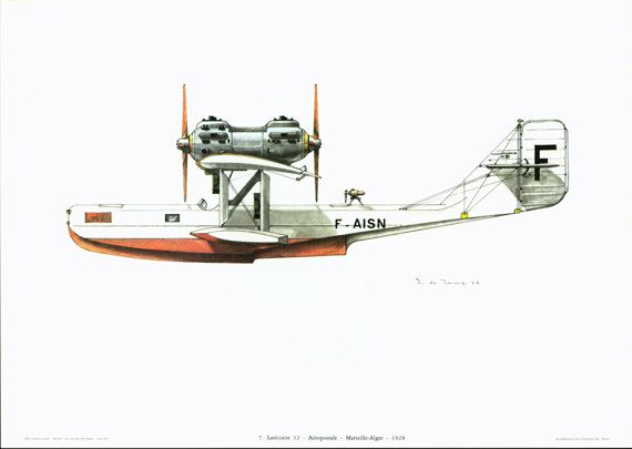Aeropostale. Marseille Alger 1928. Aviation Wall Art Print. Vintage Airplane